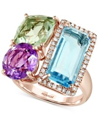 Effy Collection Mosaic By Effy Multi Stone 10 1 8 Ct. T.W. And Diamond 1 5 Ct. T.W. Ring In 14K Rose Gold