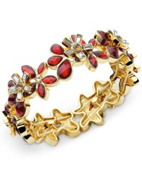 Anne Klein Gold Tone Stone And Crystal Flower Stretch Bracelet Siam