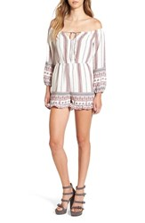 Glamorous Women's Embroidered Off The Shoulder Romper