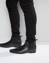 Asos Chelsea Boots In Leather Black Blue