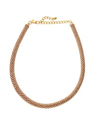 Kenneth Jay Lane Golden Crystal Encrusted Rope Necklace Women's