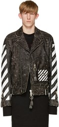 Off White Black And Leather Biker Jacket