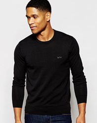 Armani Jeans Jumper With Crew Neck And Logo Black