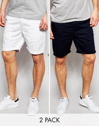 Asos 2 Pack Chino Shorts In Mid Length Save Multi