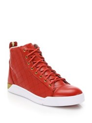 Diesel Tempus Diamond Leather High Top Sneakers Tango Red