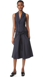 Marissa Webb Amber Pinstripe Dress Lake Twilight