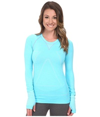 Zensah Run Seamless Long Sleeve Shirt Heather Aqua Women's Workout Green