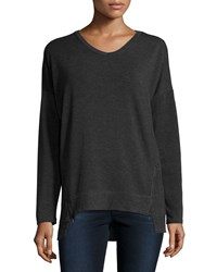 Neiman Marcus Active Ribbed V Neck Side Zip Tee Heachargry