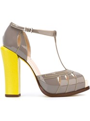 Fendi Chunky Heel Sandals Grey