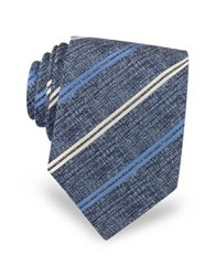 Forzieri Diagonal Stripe Woven Silk Men's Tie Blue