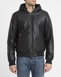 Armani Jeans Black Eco Fur Lined Hood Leather Jacket