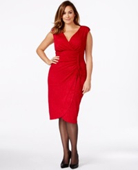 Alfani Plus Size Faux Wrap Glitter Sheath Dress Only At Macy's New Red Amore