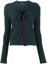 Rochas Bow Detail Ribbed Jumper Green