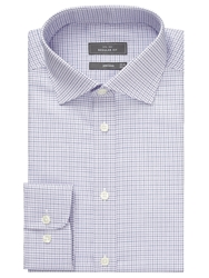 John Lewis Twill Micro Check Shirt Purple