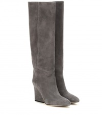 Jimmy Choo Cartel Suede Knee High Boots Grey
