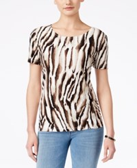 Jm Collection Animal Print Short Sleeve Top Only At Macy's Deep Black