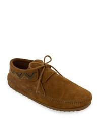 Minnetonka Mosaic Embroidered Suede Moccasins Brown