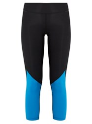 Alala Captain Mesh Insert Cropped Performance Leggings Black Blue