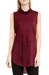 Vince Camuto Women's Two By Sleeveless Mixed Media Cowl Neck Tunic Raisin