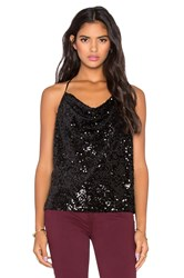Michael Stars Sequined Cowl Neck Tank Black