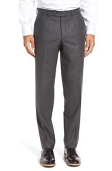 Ted Baker Men's London 'Frobisher' Flat Front Solid Wool Trousers Charcoal