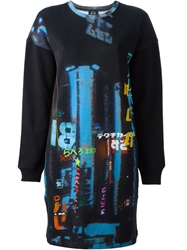Mcq By Alexander Mcqueen Neon Print Sweatshirt Dress Black