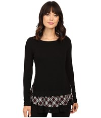 Karen Kane Plaid Inset Sweater Black Red Women's Sweater