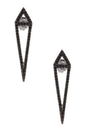 Amorium Sterling Silver Black Cz Aria Earrings