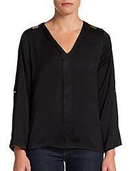 Stud Detail Pullover Blouse Black