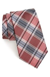 Men's Calibrate 'School Plaid' Silk Tie Berry