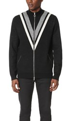 Timo Weiland Tyler Mock Neck Zip Cardigan Black Heather Grey White