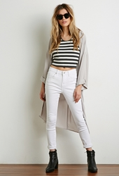 Forever 21 Striped Halter Top Grey Cream