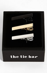 Men's The Tie Bar Brass Tie Bar Silver Black Gold 3 Pack