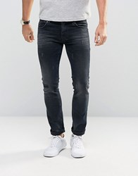 Sisley Jeans In Slim Fit With Distressed Detail Indigo 852 Blue