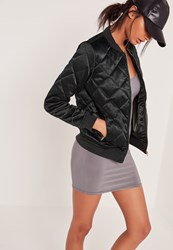 Missguided Quilted Satin Bomber Jacket Green Green