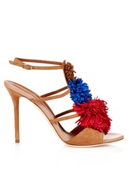 Malone Souliers Sherry Fringed Pompom Suede Sandals Tan Multi