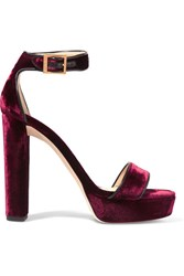 Jimmy Choo Holly Leather Trimmed Velvet Platform Sandals Burgundy