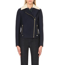 Ted Baker Ayda Shearling Collar Biker Jacket Navy