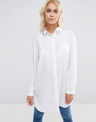 Daisy Street Shirt With Cutie Pie Embroidery White