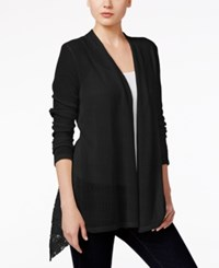 Styleandco. Style Co. Lace Inset Open Front Cardigan Only At Macy's Deep Black