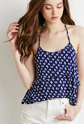 Forever 21 Abstract Print T Back Cami Navy Cream