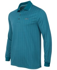 Greg Norman For Tasso Elba Men's Long Sleeve Dotted Grid Polo Only At Macy's Dragonfly Blue