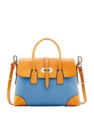 Dooney And Bourke Verona Bionda Elisa Leather Satchel Dusty Blue