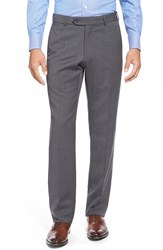 Men's Big And Tall Ballin Flat Front Solid Wool Trousers Mid Grey