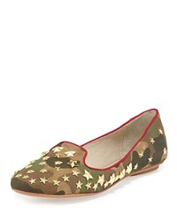 Ash Infini Camo Suede Studded Flat Military Red