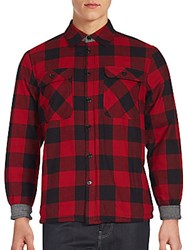Saks Fifth Avenue Red Plaid Cotton Shirt Buffalo