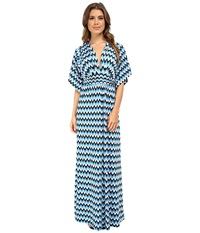 Tbags Los Angeles Dolman Sleeve Rouched Waist Maxi Blue White Black Women's Dress