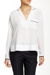 French Connection Silk Contrast Trim Blouse White