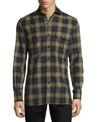 Tom Ford Plaid Oxford Shirt Green Blue Green Blue