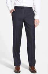 Men's Big And Tall Hickey Freeman 'B Series' Flat Front Wool Trousers Navy
